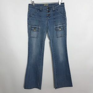 Max Studio button fly boot cut mid-rise jeans 10